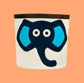 Canvas storage baskets: Blue elephant